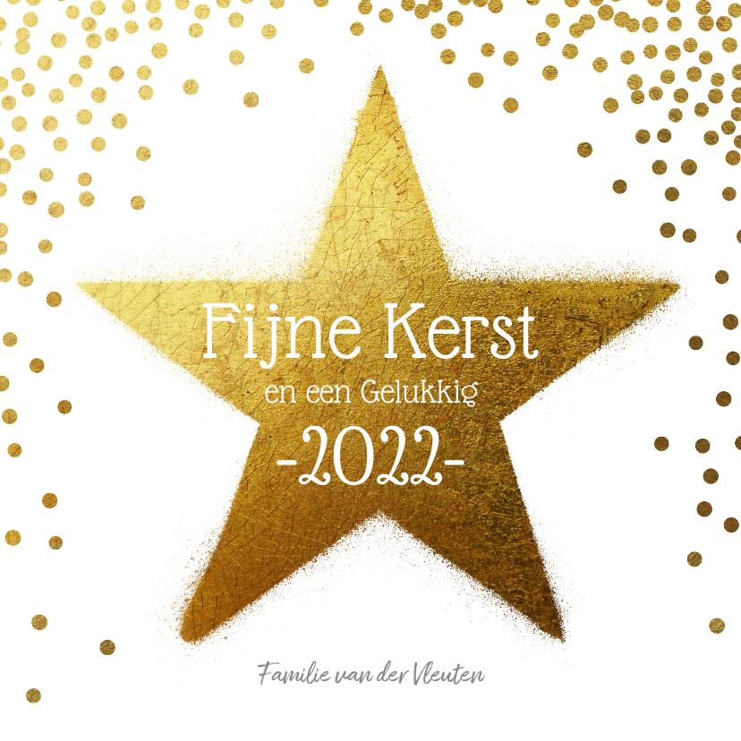 Kerstkaarten - Kerstkaart ster goud 2022