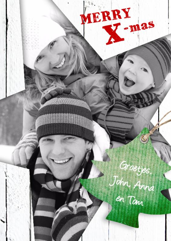 Kerstkaarten - Kerstkaart - Ster hout foto