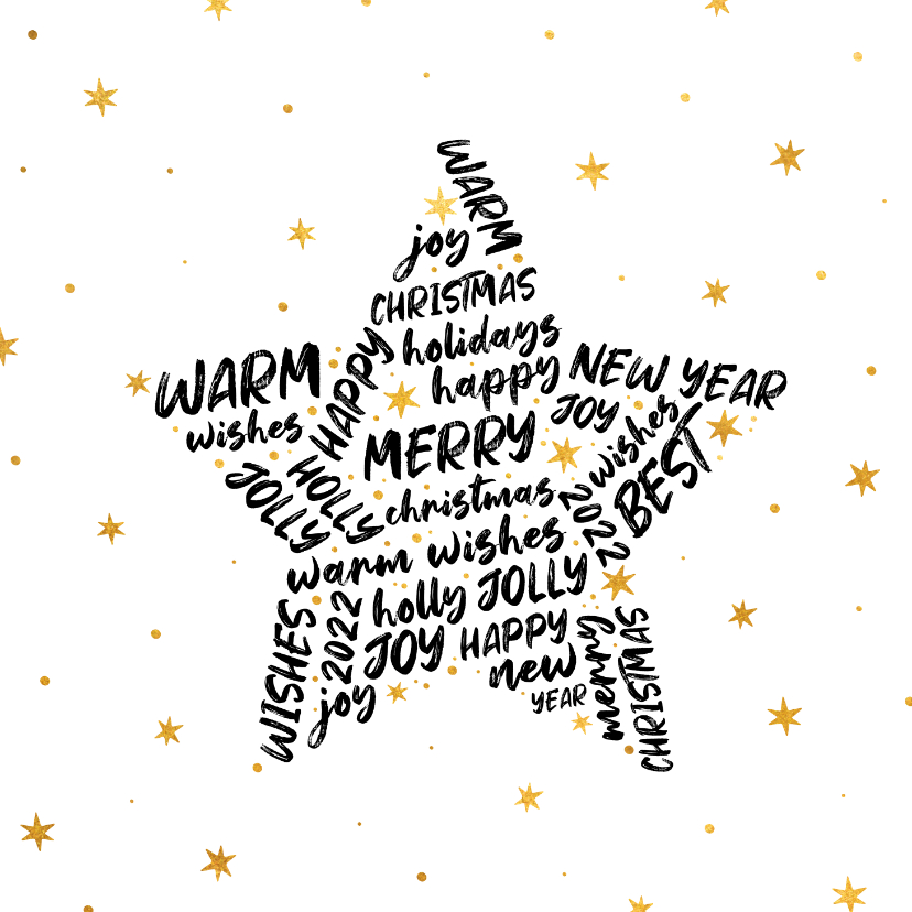 Kerstkaarten - Kerstkaart ster met woorden goudlook