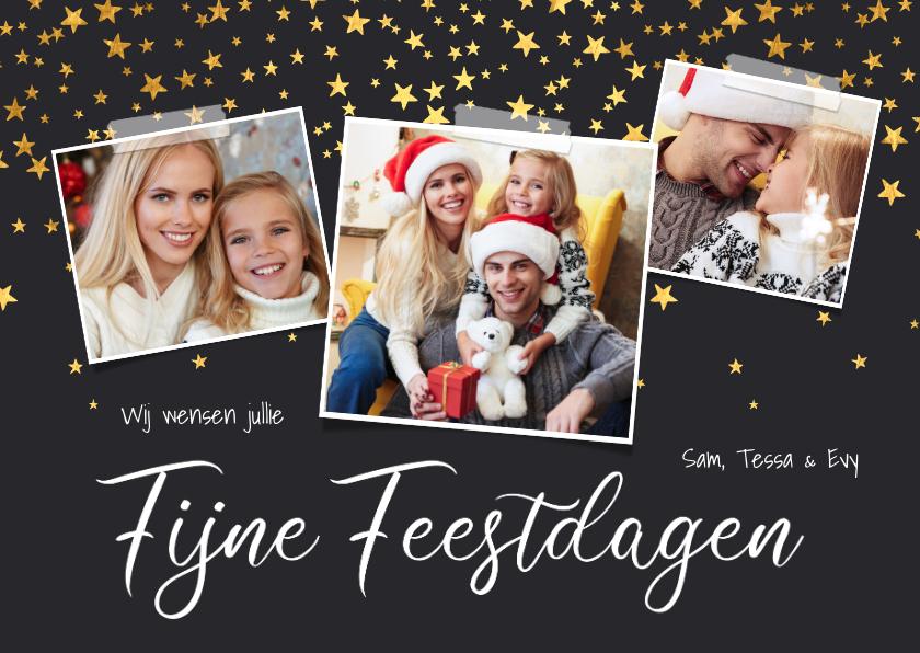 Kerstkaarten - Kerstkaart sterren confetti fotocollage fijne feestdagen