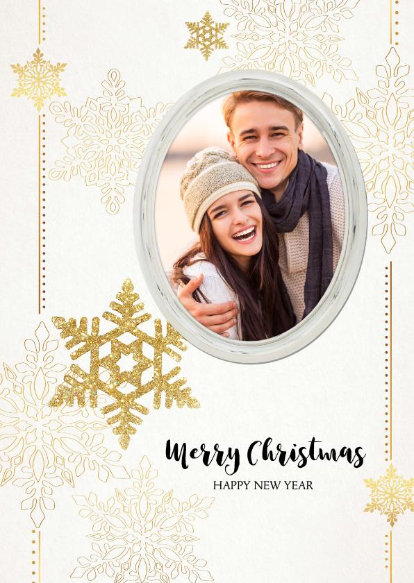 Kerstkaarten - Kerstkaart sterren en fotolijst goud beige