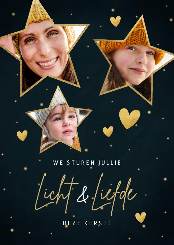 Kerstkaarten - Kerstkaart sterren, foto's, hartjes en tekst liefde & licht