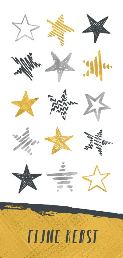 Kerstkaarten - Kerstkaart sterren in zilver en goud