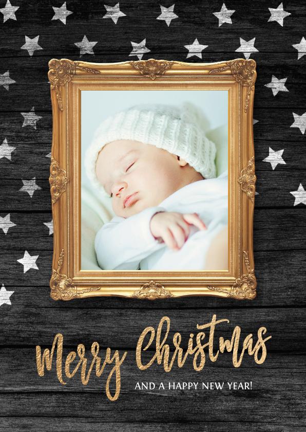 Kerstkaarten - Kerstkaart sterren lijst foto baby