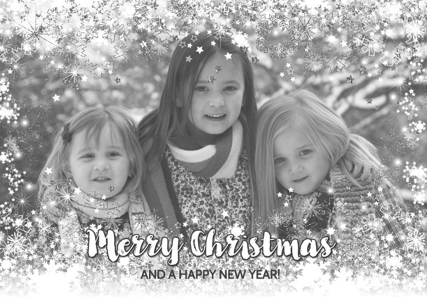 Kerstkaarten - Kerstkaart stijlvol foto sterren en twinkelingen zilver