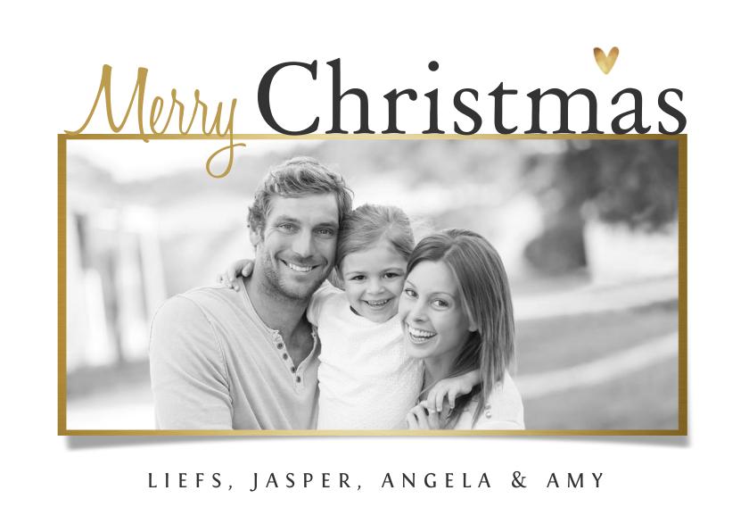 Kerstkaarten - Kerstkaart stijlvol goud foto hartjes wit