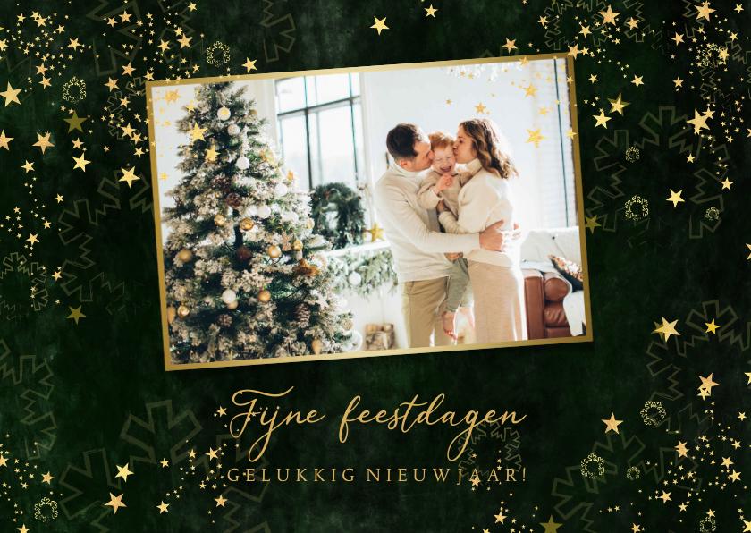 Kerstkaarten - Kerstkaart stijlvol groen gemêleerd gouden sterren en foto