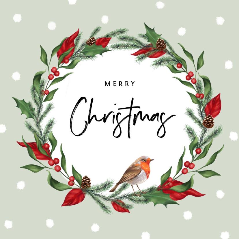 Kerstkaarten - Kerstkaart stijlvol met kerstblaadjes en roodborstje