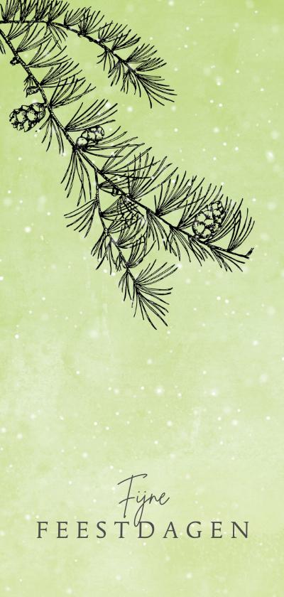 Kerstkaarten - Kerstkaart stijlvol naaldboom en sneeuw