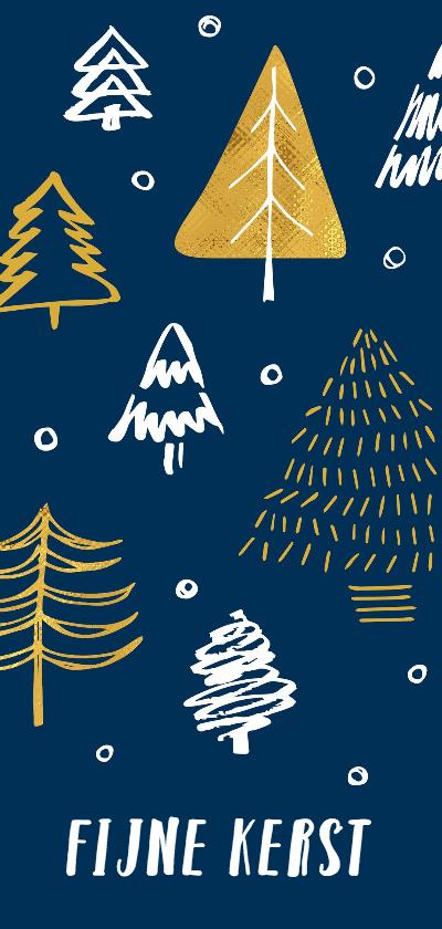 Kerstkaarten - Kerstkaart stoer getekende kerstbomen