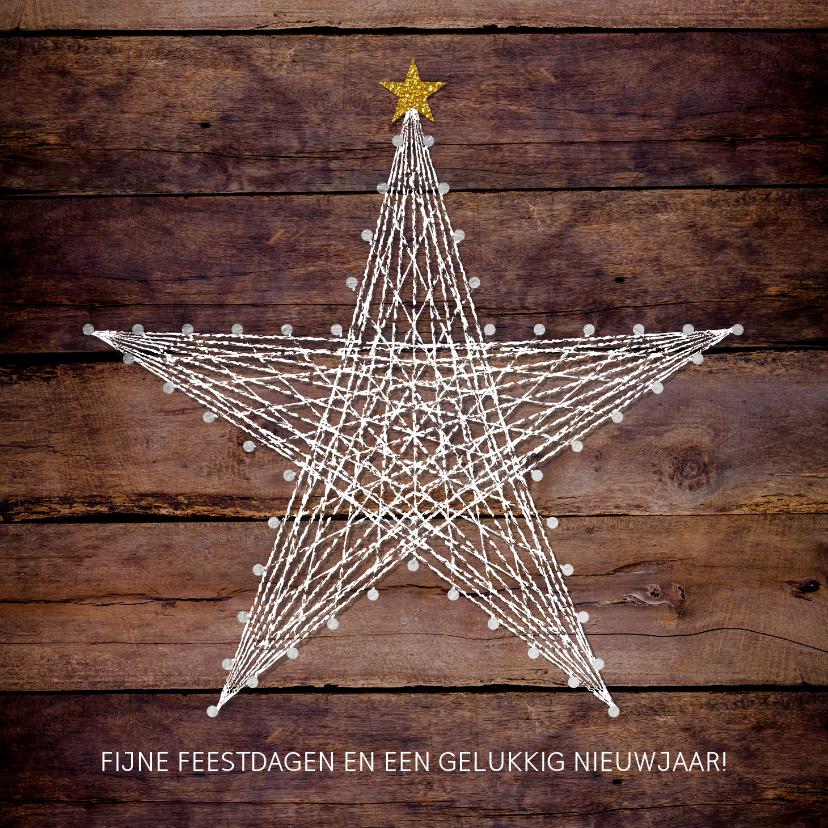Kerstkaarten - Kerstkaart stoer robuust hout met ster van spijkers en draad