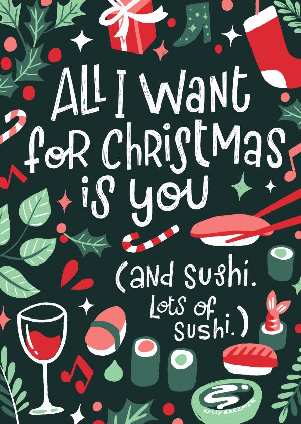 Kerstkaarten - Kerstkaart sushi