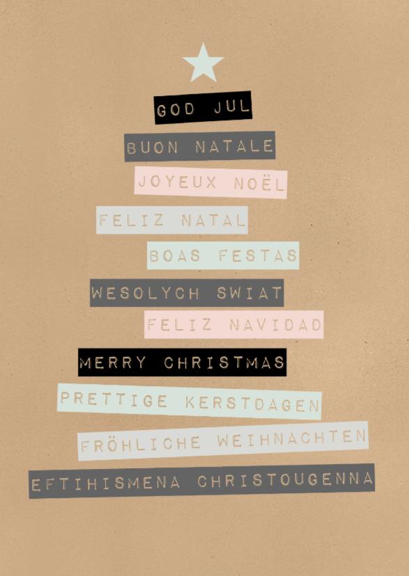Kerstkaarten - Kerstkaart talen kerstfeest - BC