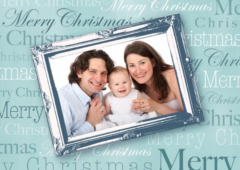 Kerstkaarten - Kerstkaart tekst en fotolijst groen
