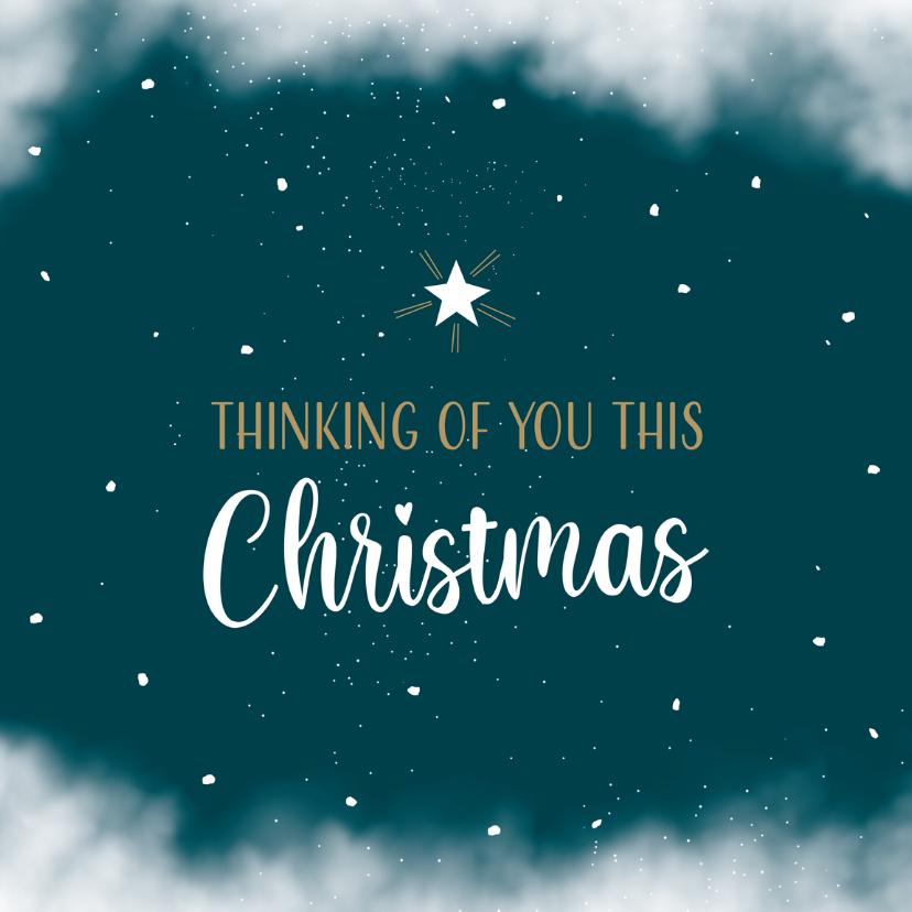 Kerstkaarten - Kerstkaart thinking of you met ster aan de hemel