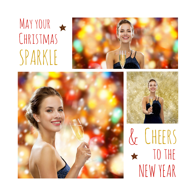 Kerstkaarten - Kerstkaart trendy collage Sparkle Cheers