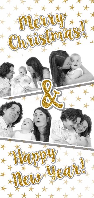 Kerstkaarten - Kerstkaart trendy foto  gouden glitter tekst en sterren