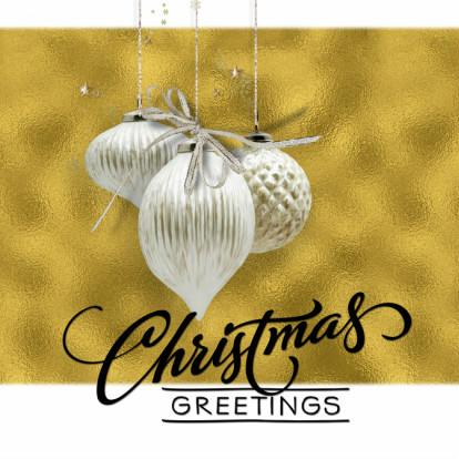Kerstkaarten - Kerstkaart trendy gold christmasballs