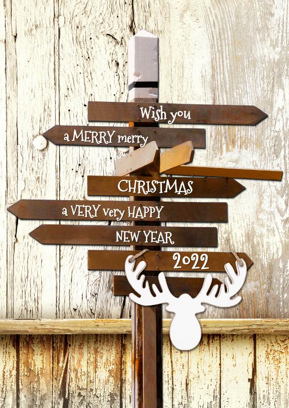 Kerstkaarten - Kerstkaart trendy hout wegwijzer