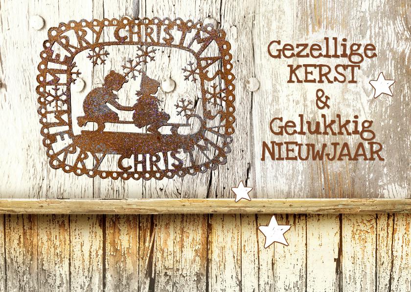 Kerstkaarten - Kerstkaart trendy steigerhout