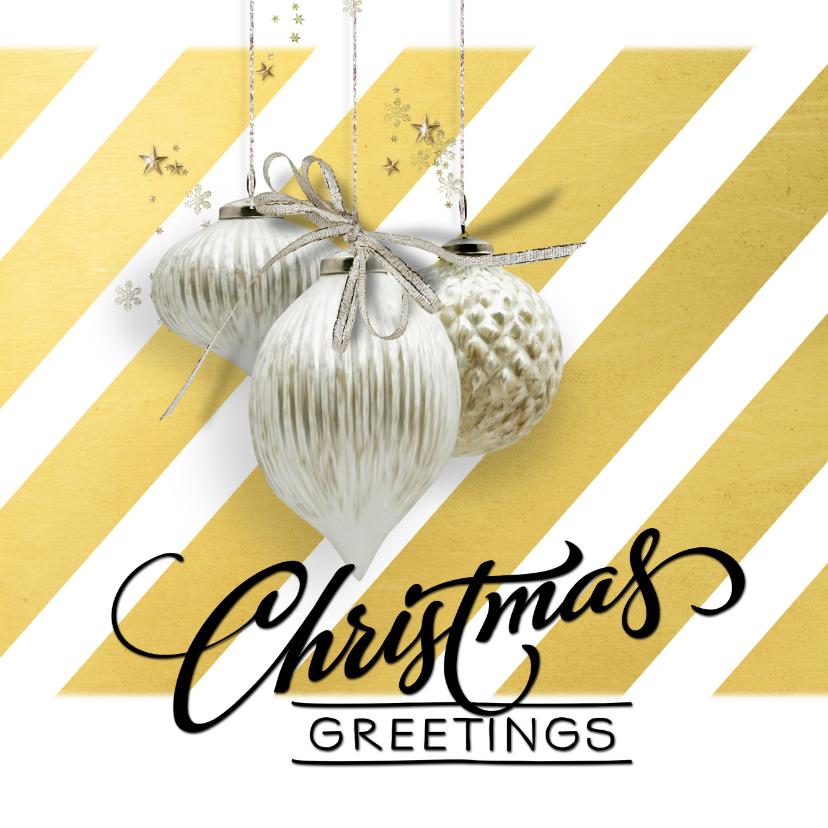 Kerstkaarten - Kerstkaart trendy streep goud witte kerstballen