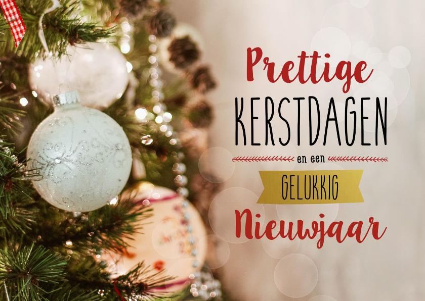 Kerstkaarten - Kerstkaart typografie kerstbal
