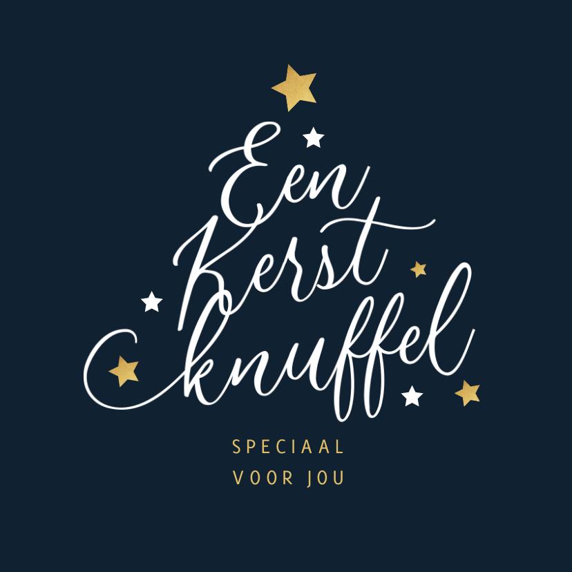 Kerstkaarten - Kerstkaart typografie kerstboom kerstknuffel sterren goud
