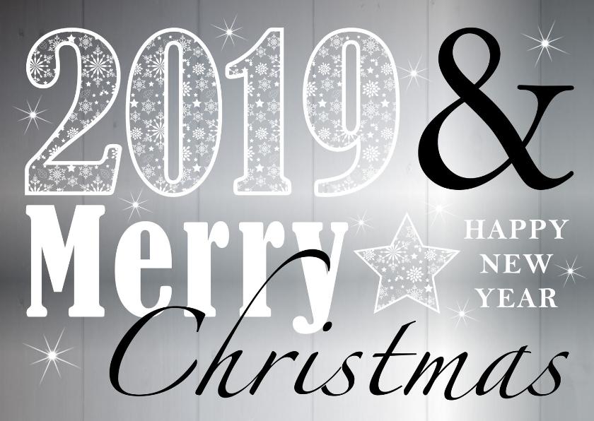 Kerstkaarten - Kerstkaart typografie zilver 2019