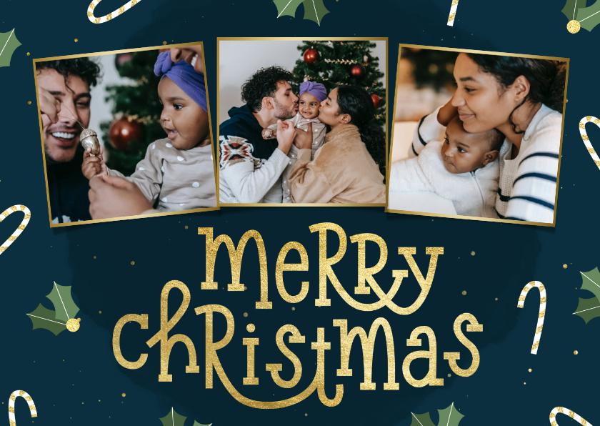 Kerstkaarten - Kerstkaart typografisch met zuurstok hulst en fotocollage
