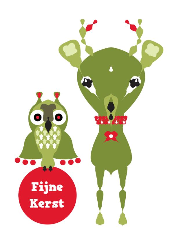 Kerstkaarten - Kerstkaart uil en hert