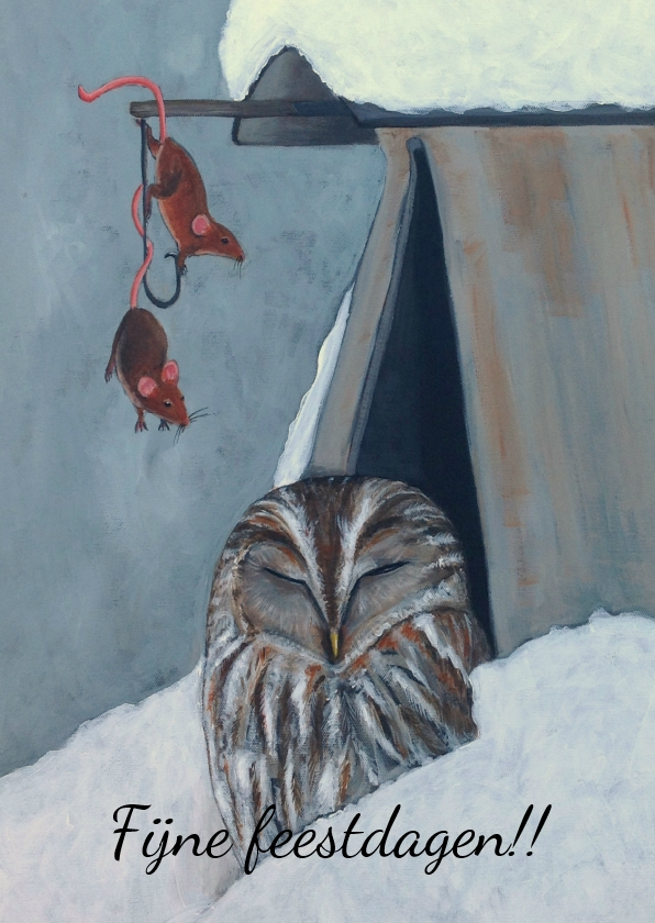 Kerstkaarten - Kerstkaart Uil en muis
