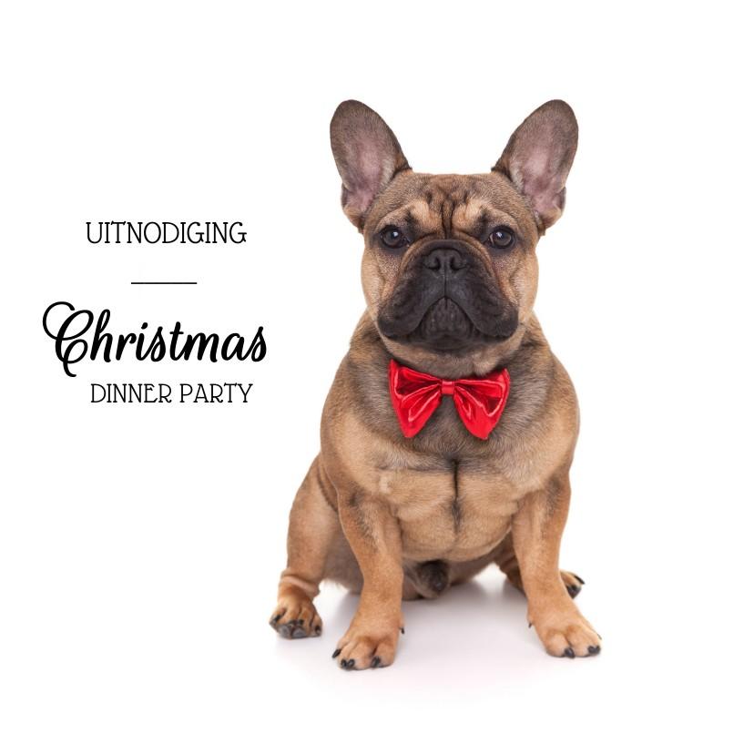 Kerstkaarten - Kerstkaart uitnodiging - Franse Bull Dog met rode strik