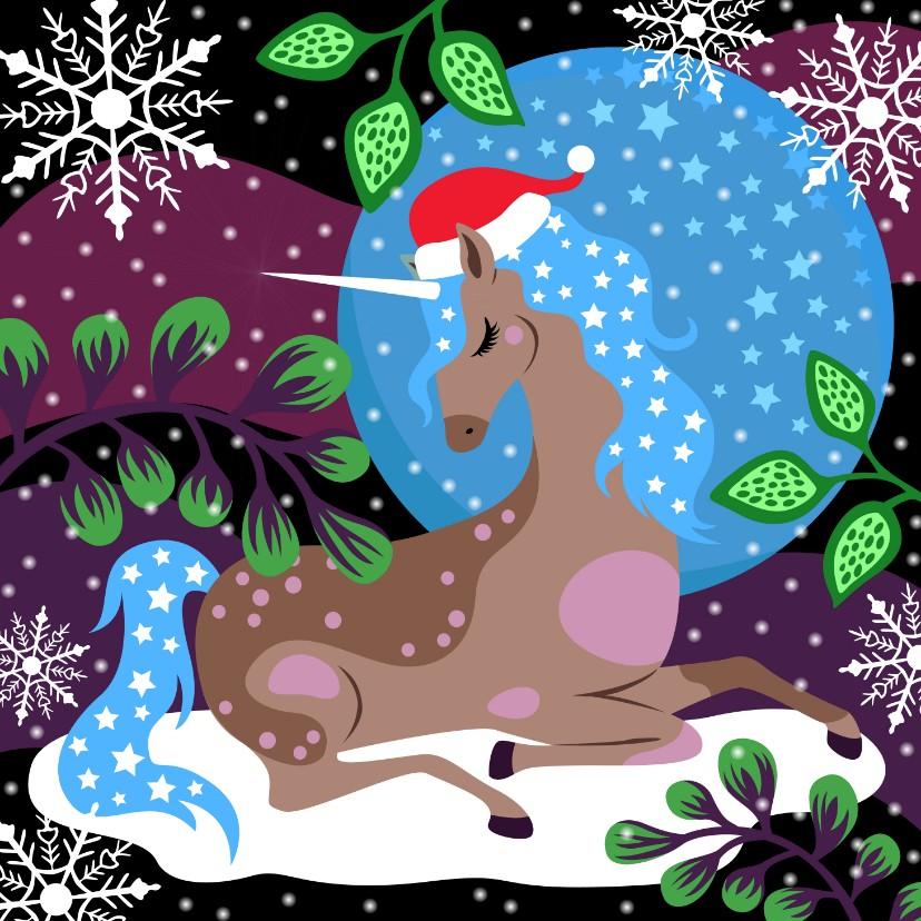 Kerstkaarten - Kerstkaart unicorn en sterren