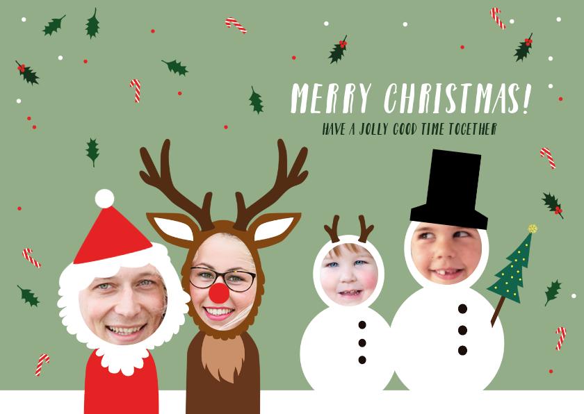 Kerstkaarten - Kerstkaart uniek en grappig gezin verkleed