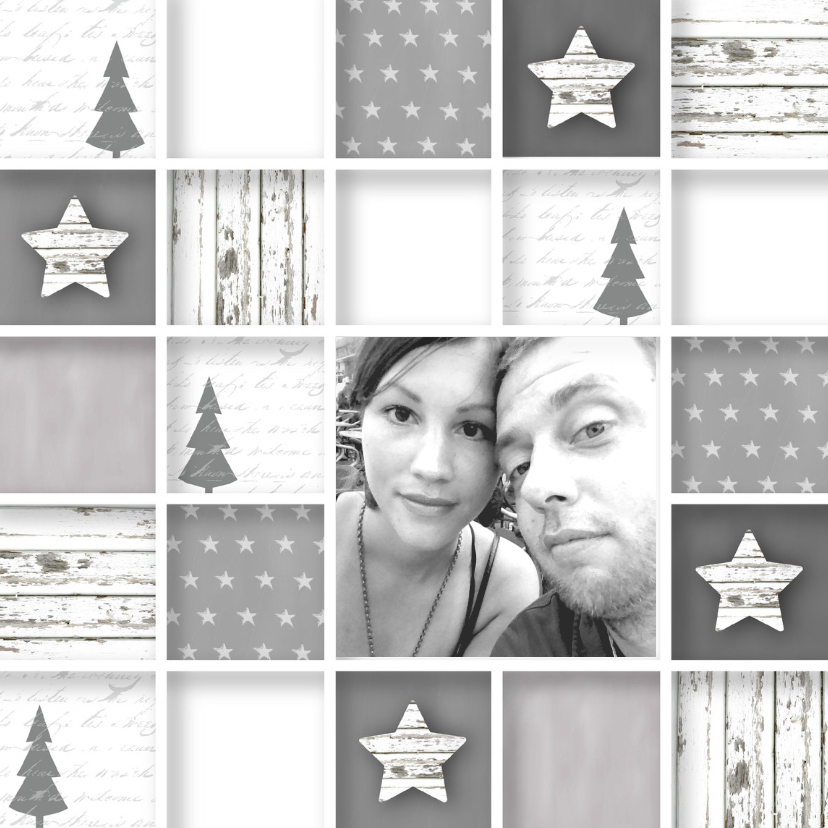 Kerstkaarten - Kerstkaart vakjes foto sterren stoer