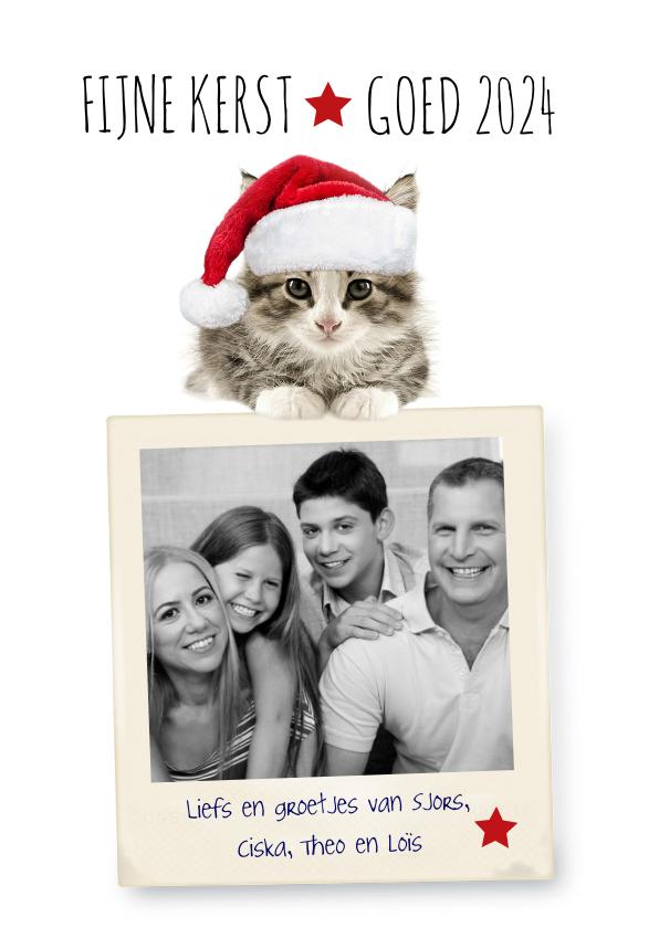 Kerstkaarten - Kerstkaart van een poesje met fotolijst