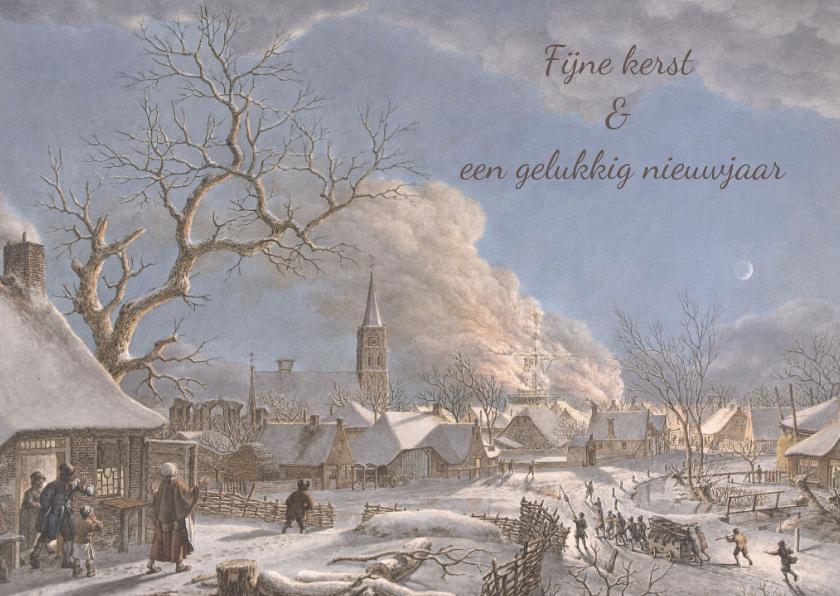 Kerstkaarten - Kerstkaart van Winter van Jacob Cats, Nacht en vuur