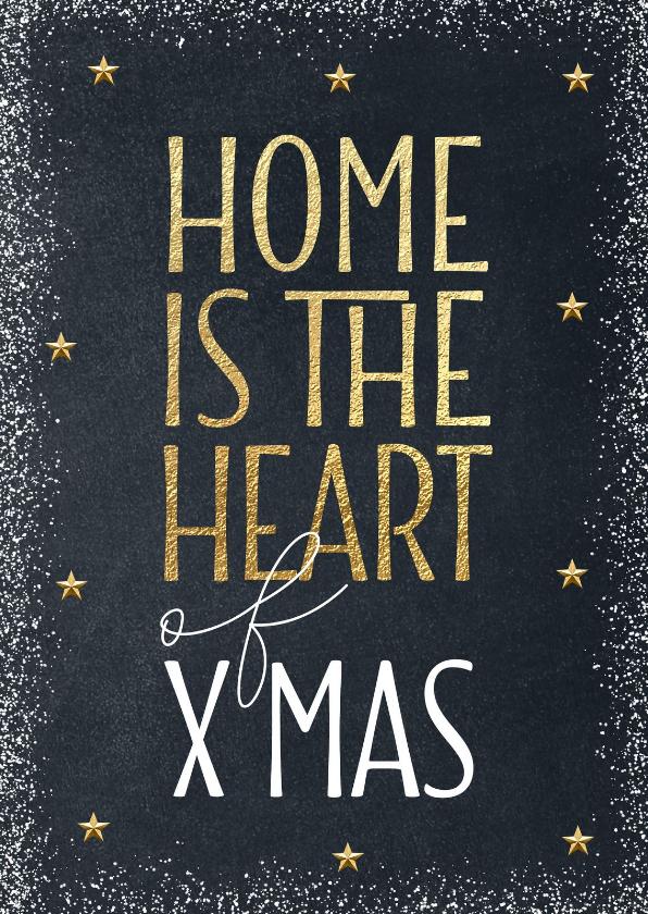 Kerstkaarten - Kerstkaart verhuis Home is the heart of Xmas goud krijtbord