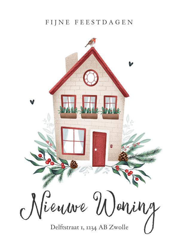 Kerstkaarten - Kerstkaart verhuisd huisje roodborstje kerst takjes foto