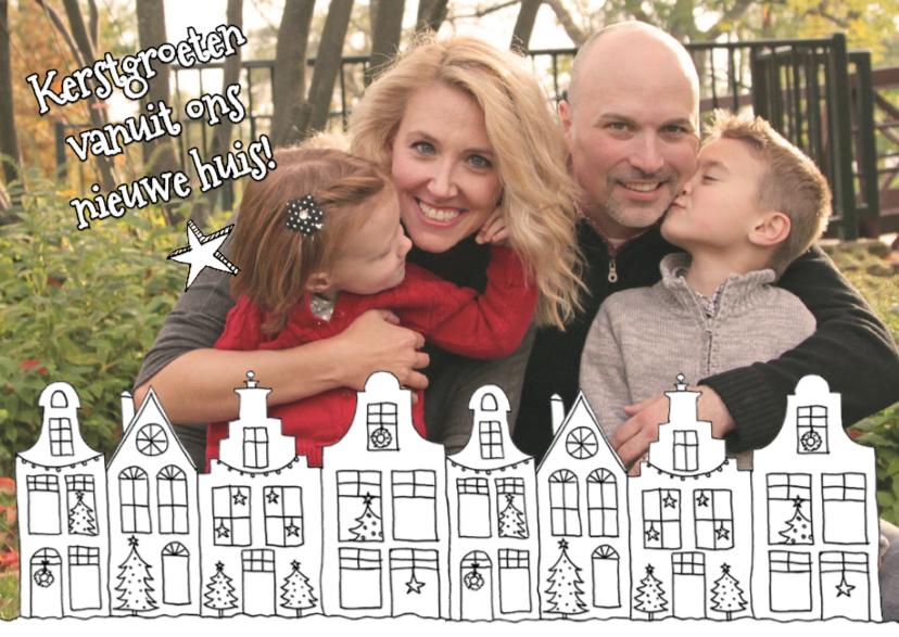 Kerstkaarten - Kerstkaart verhuisd huisjes foto