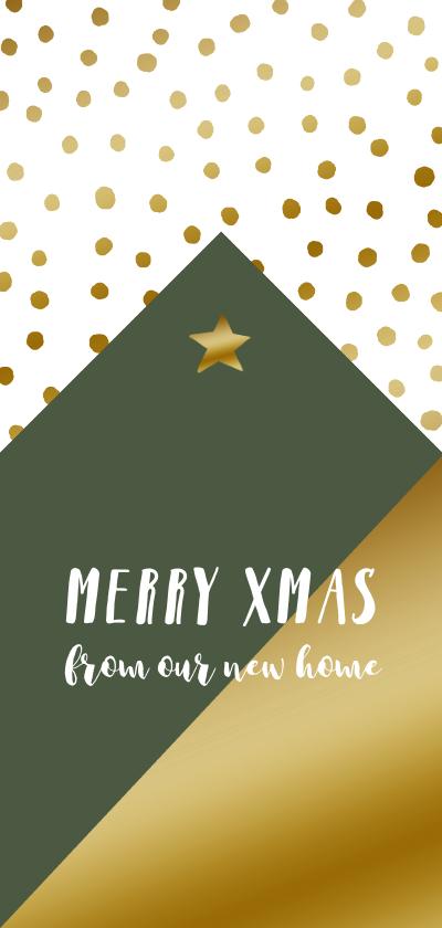 Kerstkaarten - Kerstkaart verhuiskaart hip huisje stippen goudlook