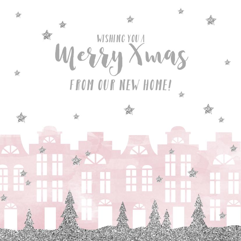 Kerstkaarten - Kerstkaart verhuiskaart huisjes aquarel sterren