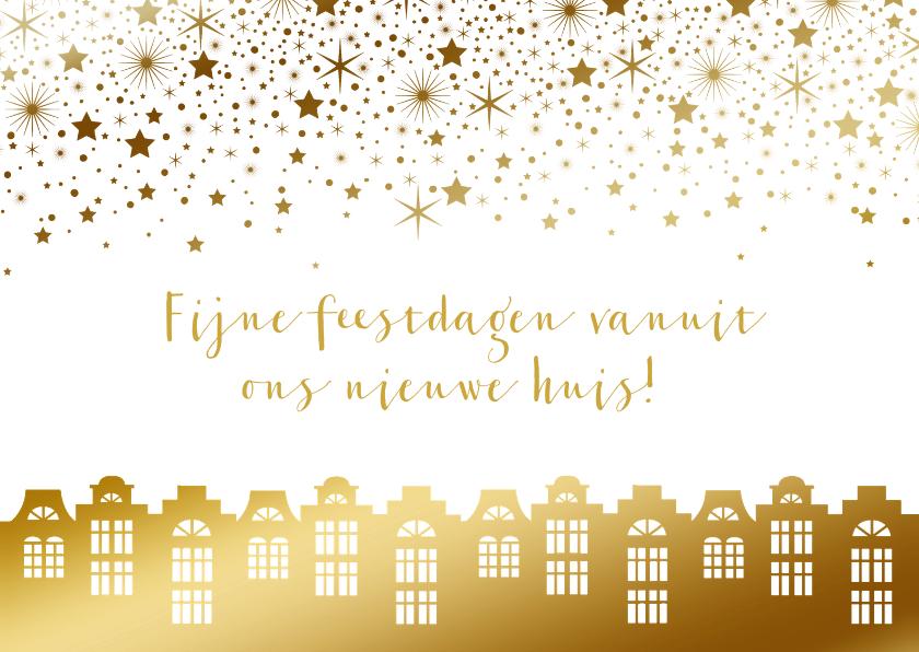 Kerstkaarten - Kerstkaart verhuiskaart huisjes goudlook sterren