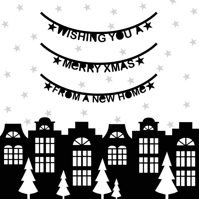 Kerstkaarten - Kerstkaart verhuiskaart zwartwit slingers