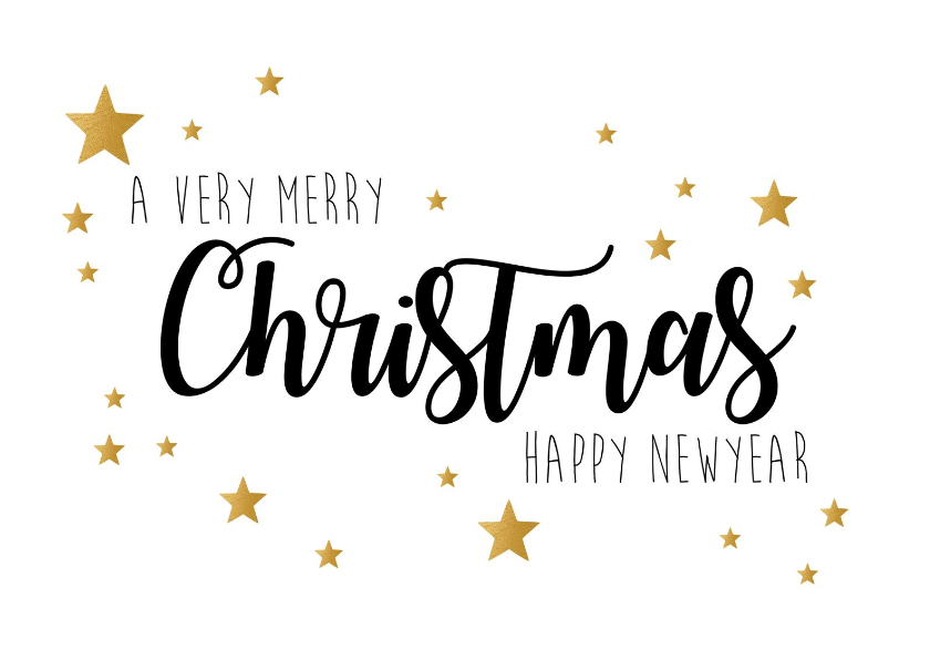 Kerstkaarten - Kerstkaart very merry christmas goudlook