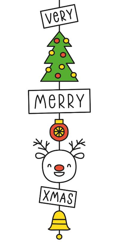 Kerstkaarten - Kerstkaart very merry xmas kerst hanger