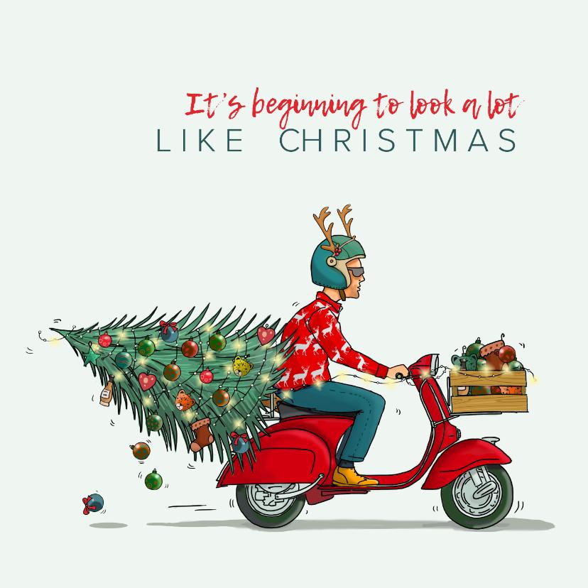 Kerstkaarten - Kerstkaart Vespa scooter met kerstboom