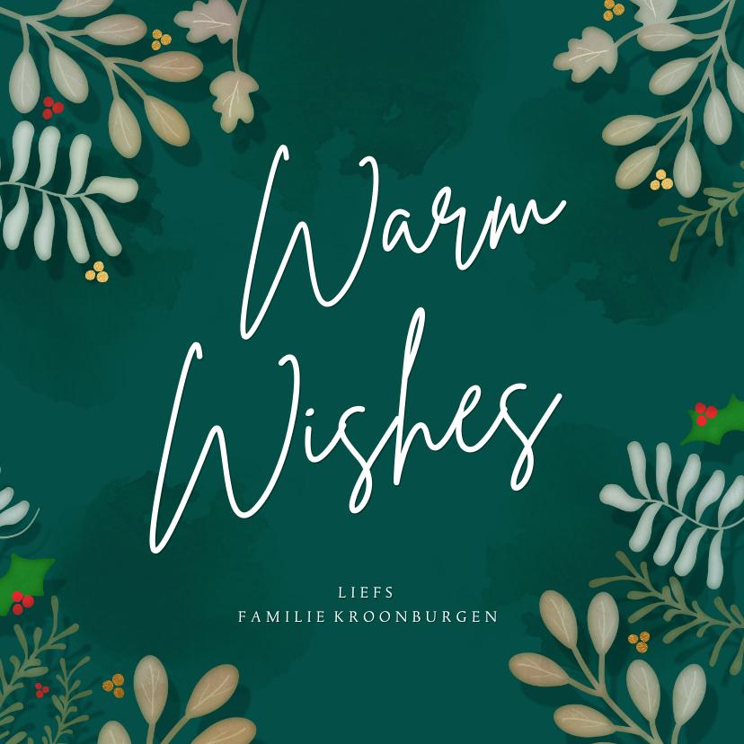Kerstkaarten - Kerstkaart vierkant botanische kerst Warm Wishes