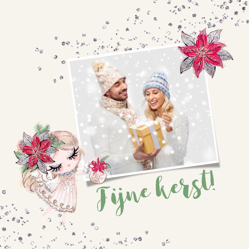Kerstkaarten - Kerstkaart vierkant engeltje met zilverglitter