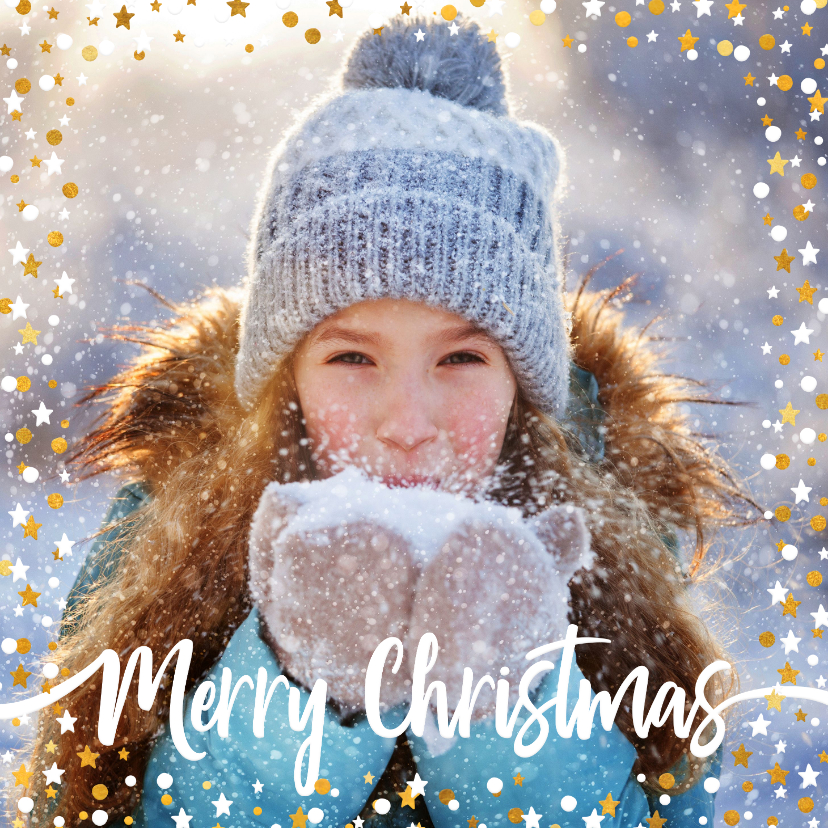 Kerstkaarten - Kerstkaart vierkant gouden sterren met confetti en foto